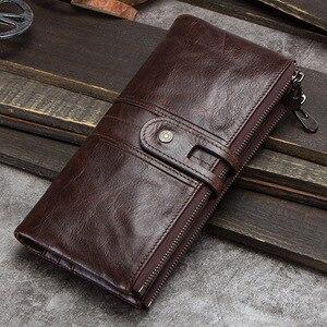 Image 4 - CONTACTS hommes pochette offre spéciale en cuir véritable long portefeuille mâle porte monnaie fermeture éclair sac dargent pour iphone8 portemonnee hommes walet