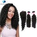 8A Deep Wave Brazilian Virgin Hair 2 Bundles with Closure Cheap Deep Curly Human Hair Weave Tissage Bresilienne Avec Closure