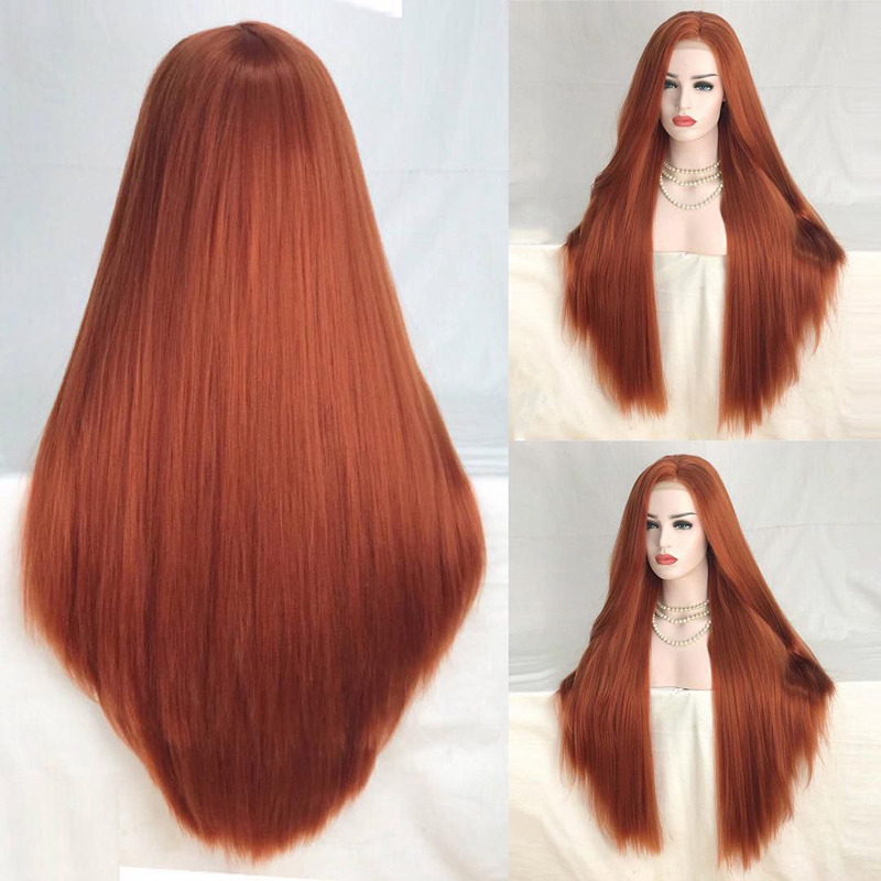 Charisma 26 Inches Long Straight Copper Red Synthetic Lace Front Wig High Temperature Hair Wigs For