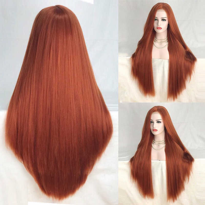 Charisma  26 Inches Long Straight Copper Red Synthetic Lace Front Wig High Temperature Hair Wigs For Fashion Women Middle Part