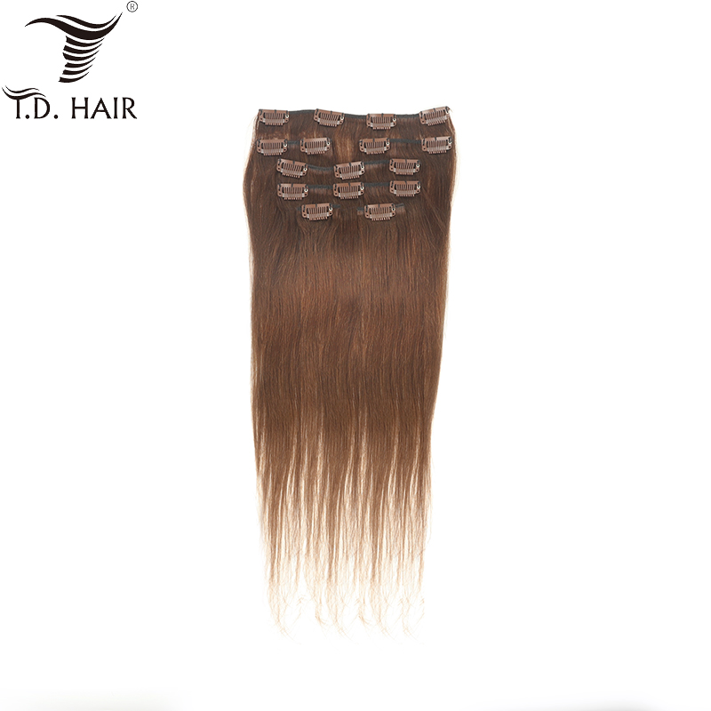 <font><b>Grade</b></font> <font><b>10A</b></font> Natural Brown color Clips in Human <font><b>Hair</b></font> Extensions Peruvian Straight 16 Clips 70G Raw <font><b>Hair</b></font> image