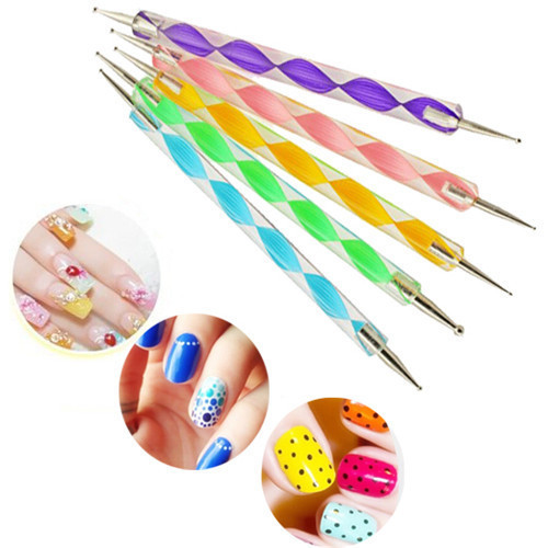 1 Set/5 Pcs Marbleizing Dotting Manicure Tools Double