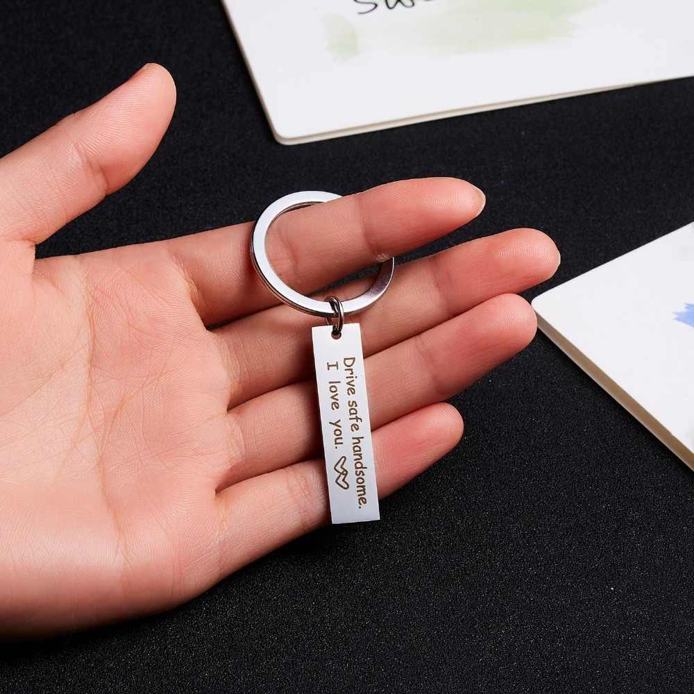 สแตนเลสที่กำหนดเอง Keyrings ของขวัญไดรฟ์ปลอดภัย I Need You ที่นี่ Me พวงกุญแจคู่แฟนกระเป๋าส่วนบุคคล Key