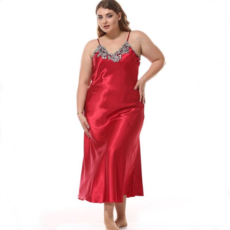 Large Sexy Silk Satin   Nightgown   Long Nightdress Lace   Sleepshirt   Summer Night Dress Sleevepess Sleeping Dress For Women
