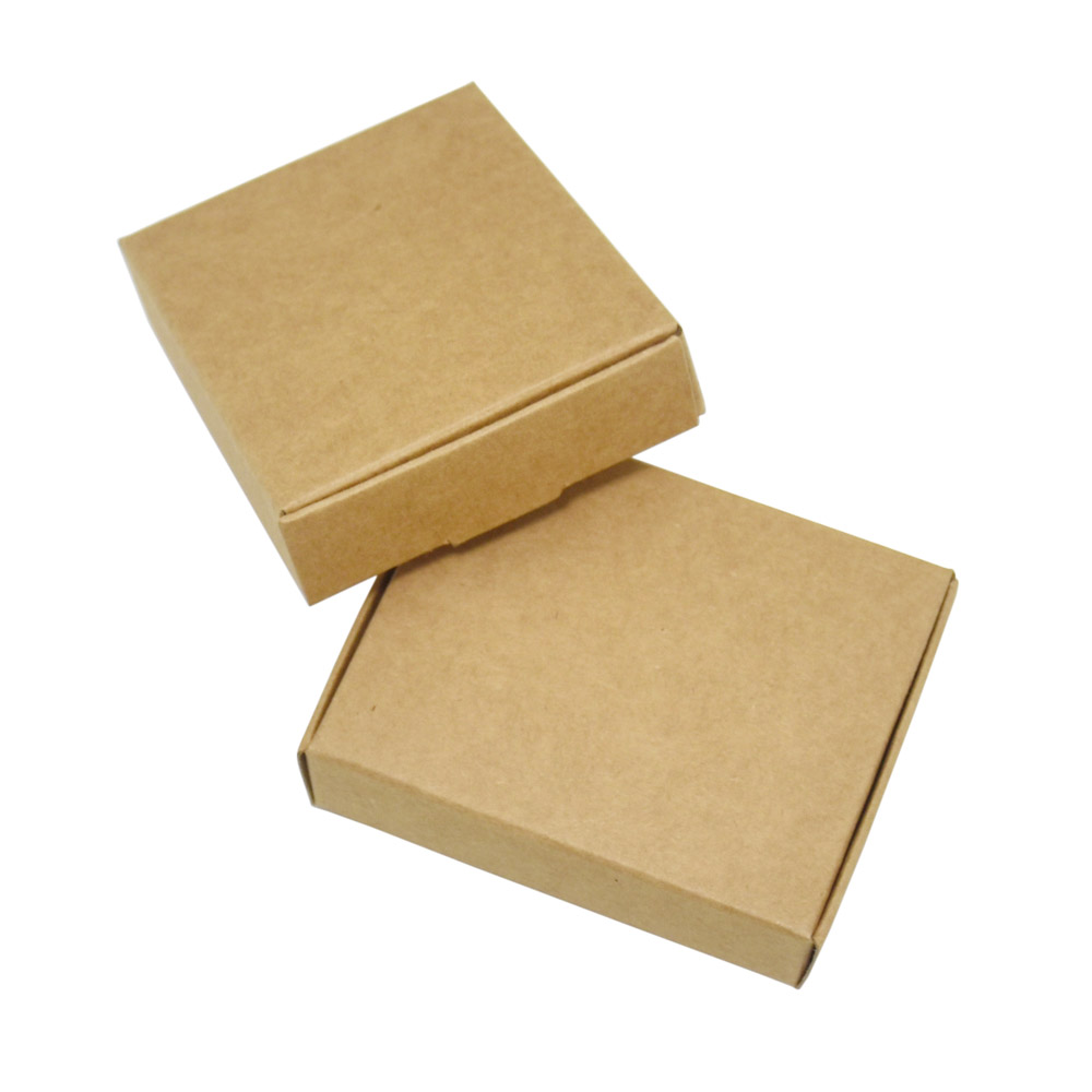 50Pcs Small Cardboard gift box,brown Package paper carton box kraft handmade soap packaging craft folding 8.5*7*2cm