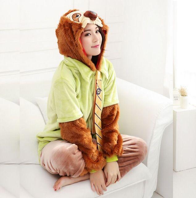 Funny Animal Pajamas Zootopia Sloth Flash Costume Flannnel Warm Sleepwear  Couples Cute Kugurumi Siamese Onesie For Adult 050e6a999f