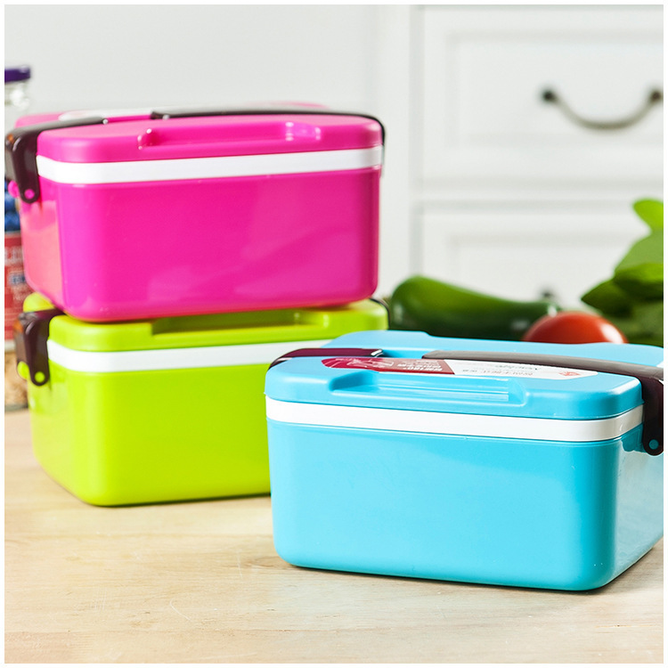 Cartoon Candy colors 2 Layers Bento Lunch Box for Kids Plastic Food Container