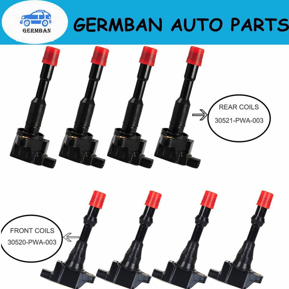 8 шт./лот передние и задние катушки зажигания 30520-PWA-003 30521-PWA-003 для Honda Civic 7 8 VII VIII JAZZ FIT 2 3 II III 1,2 1,3 1.4L