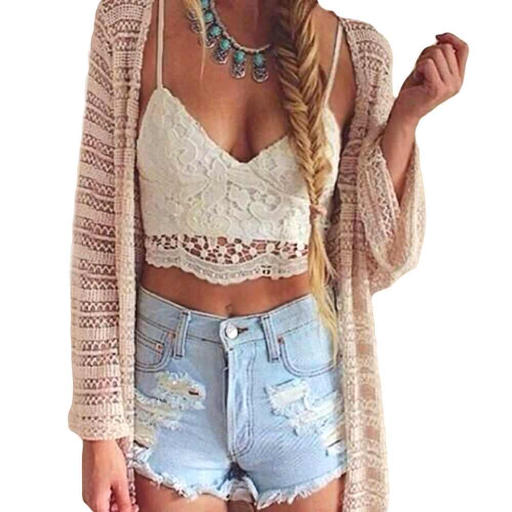 25a137eadb 2019 Autumn tunic Women Crop Top Lace Crochet Sexy Deep V Neck Spaghetti  Strap Backless Tank