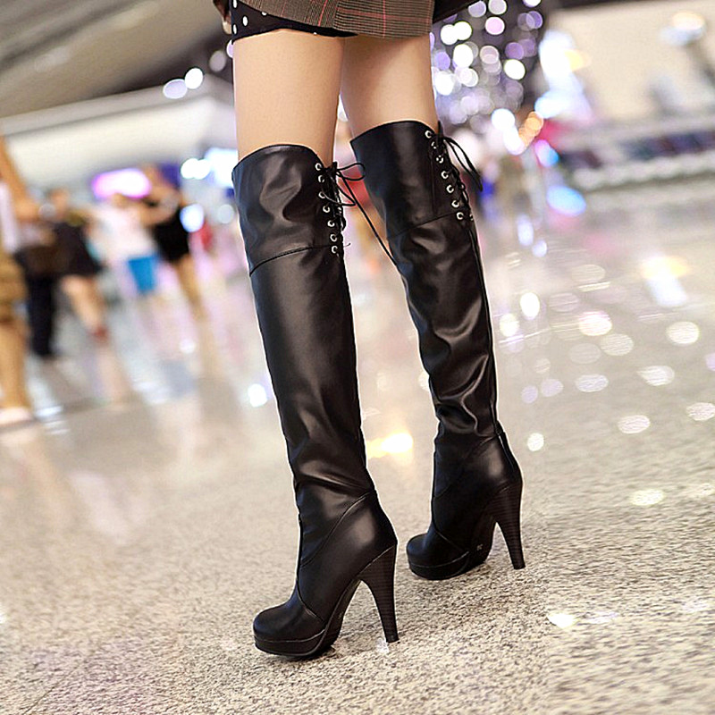 ФОТО Women Stretch Faux PU Slim Thigh High Boots Sexy Fashion Over the Knee Boots Knight boots High Heels Woman Shoes Black Brown