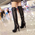 Women Stretch Faux PU Slim Thigh High Boots Sexy Fashion Over the Knee Boots Knight boots High Heels Woman Shoes Black Brown