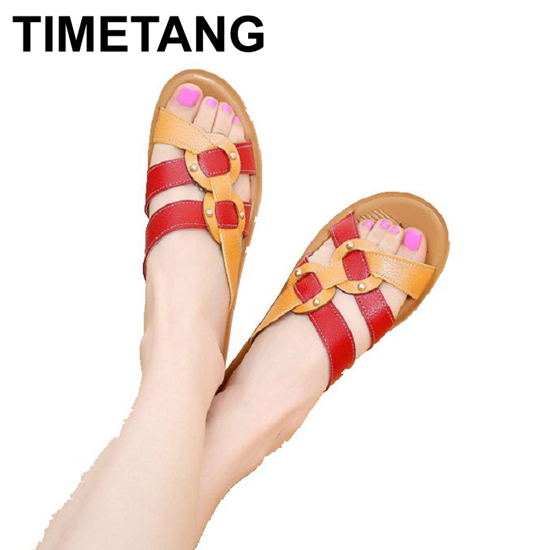 TIMETANG  summer new soft bottom fashion slippers non-slip ladies sandals middle-aged large size flat with comfortable slippers цена 2016