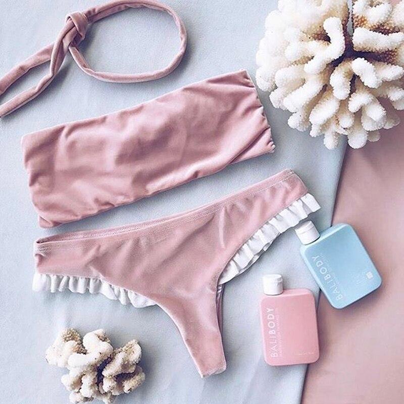 Velvet Bikini 2017 Ruffle Flounce Retro Swimwear Women Cute Pink Bow Bathing Suit Triangel Low Waist Swimsuit Female Lace 1