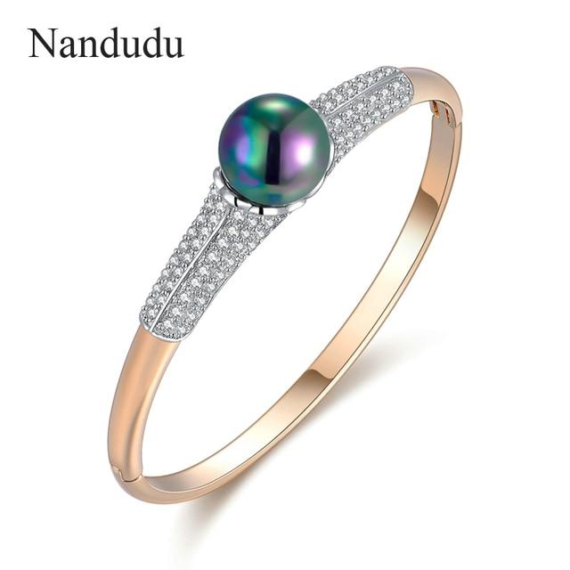Nandudu New Arrival Bangle Gold Plated Metal With Shinning Crystal Black Pearl Bracelet Female Fashion Jewelry Gift B1046
