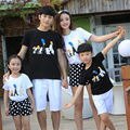 Free Shipping summer family look clothing sets sports mother daughter Boys Girls family cartoon casual T shirts + Pants Outfits