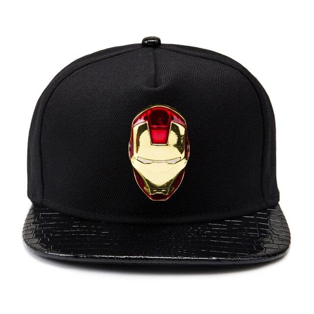 Марка сша фильм хлопок золотой логотип шляпа железный человек унисекс крышки Snapback мужчины плоские твердые открытый регулируется улица хип-хоп Cap