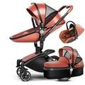 3 в 1 Кожа Детские Коляски Набор Высокого Пейзаж Коляска System Детские Коляски 360 Вращения Коляска с Люльки и Автомобиль сиденья