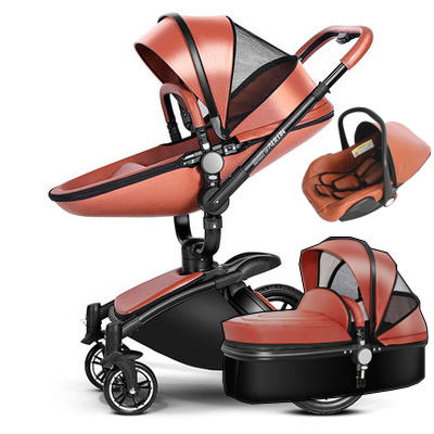 3 In 1 Leather Baby Stroller Set High Landscape System Pram 360 Rotation Pushchair With Binet And Car Seat