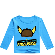 все цены на Z&Y 2-16Y Newest Pokemon Go T-shirt Kids Fashion Detective Pikachu T Shirts Girls Long Sleeve Tops 2019 Boys Casual Streetwear