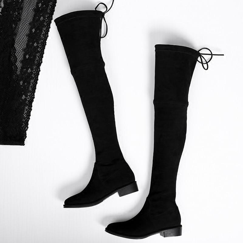 Haute Long Plates 2017 Élégant Cuisse Mode Bottes Femme Cuir Féminine Nouvelle Noir Tube Qualité Confort En Chaussures Daim W5R8qRUxwO