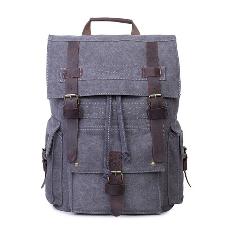New Large Casual Men Canvas Travel Backpack Vintage Student School Bag Laptop Rucksack Canvas Drawstring Backpack стоимость