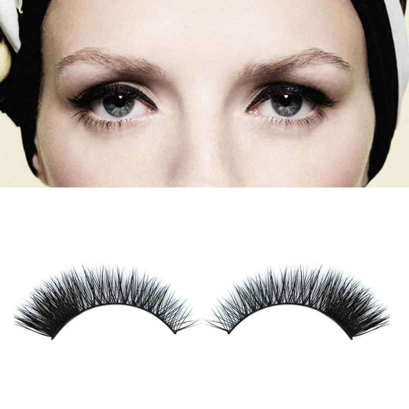 1Pair Fashion Woman Eye Makeup Extention Fake Eyelashes Handmade Mink Hair Long Thick Natural False Eyelashes Eye Lashes