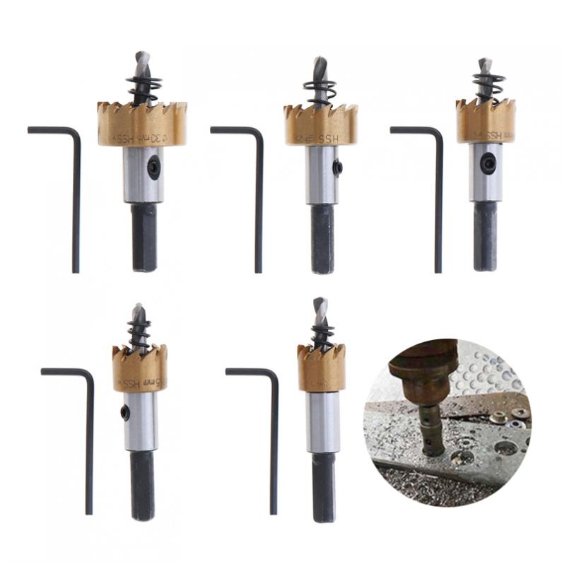 New 5pcs HSS Drill Bit Drilling Hole Cut Tool with 16 / 18.5 / 20 / 25 / 30mm for Installing Locks Door Knobs new 50mm concrete cement wall hole saw set with drill bit 200mm rod wrench for power tool