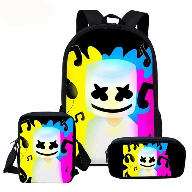 3pcs School Bag Set 3D DJ Marshmello Schoolbag for Teenager Boys Girls Preschool Suppilers Kids Toddler Backpack Women 1