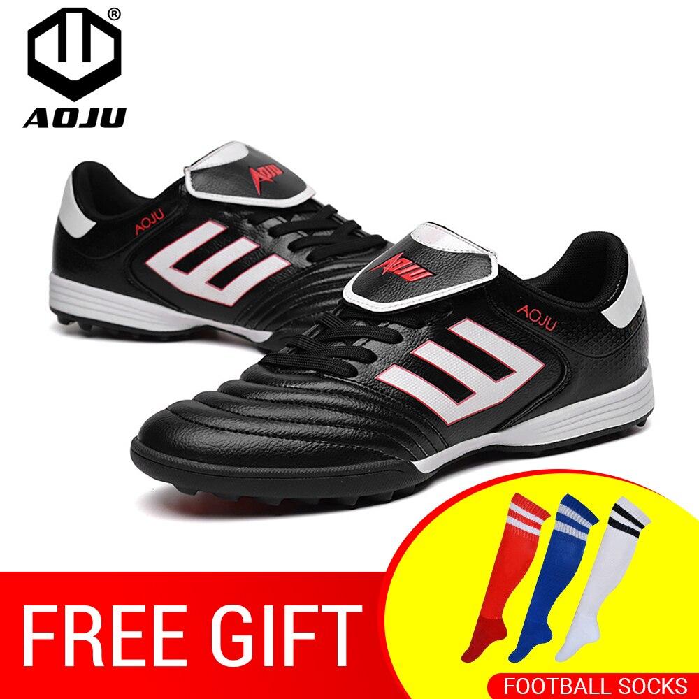 AOJU nouvelles bottes de Football chaussures de Football hommes chaussures de Football légères à vendre enfants crampons TF chaussures de Football Chuteira 4 couleurs