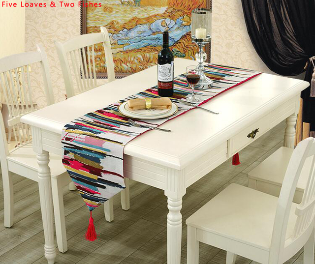 Hot Sale Family Party Tablecloth Colorful Table Flags High Quality Cotton  And Linen Table Runner Beautiful