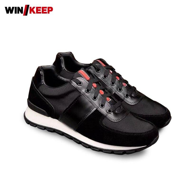 Дизайнерские кожаные Лоскутные мужские кроссовки дышащие уличные прогулочные спортивные спортивная обувь на толстой подошве наивысшего к