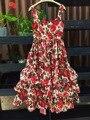 Novo 2017 primavera verão da marca pista subiu padrões de impressão mulheres vestido de algodão alcinhas cascading ruffles vestidos sexy bonito