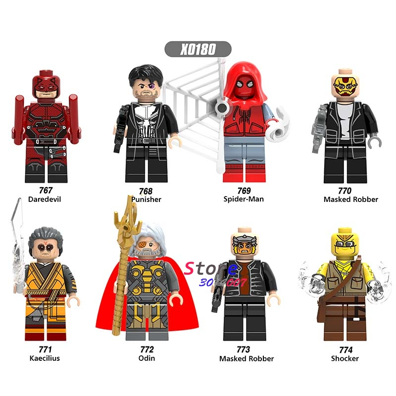 Single Super Hero Marvel Daredevil Spider-Man Masked Robber Punisher Odin Shocker Comics building blocks bricks toy for children marvel platinum the definitive daredevil