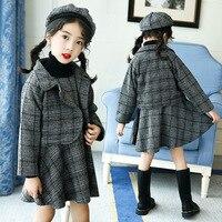 New Girls Plaid Dress with Velvet Cotton Plaid Dress Cotton Plaid Suit Coat