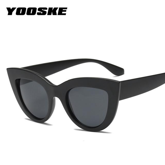 YOOSKE Retro Cat Eye Sunglasses Women CatEye Style Vintage Sun Glasses Famous Brand Designer UV400 Shades Eyewear