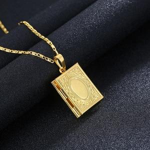 Image 2 - Gold Farbe Islam Allah Muslimischen Halskette Quran Koran Buch öffnende Box Anhänger Mit Kette Muhammad Religion Schmuck Geschenk