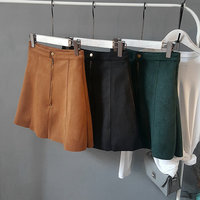 Winter Pencil Skirts Womens Vintage High Waist A Line Short Skirt Green Brown Black Leather Skirts