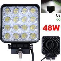 4 2 Inch 48W High Power Square LED Work Light 12V 24V Spot Flood For 4x4