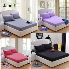 Jane YU 2019 Solid Bedspread & Coverlet Sets 3Pcs High Quality Cotton/Polyester Fitted Sheet + Pillowcase