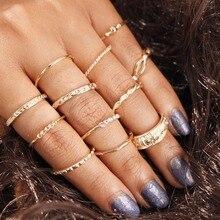 2018 NEW Women 12pcs/lot Vintage Finger Ring Set Gold Plain Circle Rhinestone Knuckle Bohemian Midi Ring Jewelry Gift bohemian leaves circle finger ring