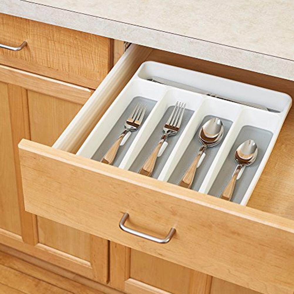 Caja de almacenamiento de 4 compartimentos, cajón, cubertería, bandeja, accesorios de cocina, cuchara, organizador de horquillas, caja de almacenamiento de vajilla de plástico