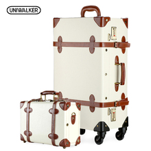 12″ 20″ 22″ 24″ 26″ Ivory Vintage Suitcase Travel Suitcase,Scratch Resistant Rolling Luggage Bags With Combination Lock
