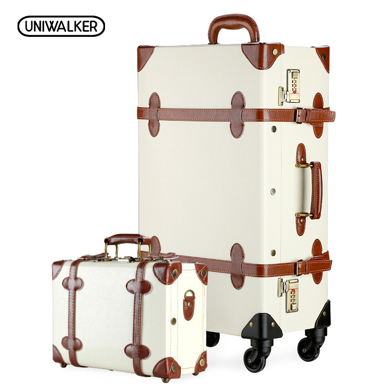 UNIWALKER 12 20 22 24 26 Vintage Suitcase Travel Suitcase,Scratch Resistant Rolling Luggage Bags 20 Carry on luggage uniwalker 2022 24 26 drawbars