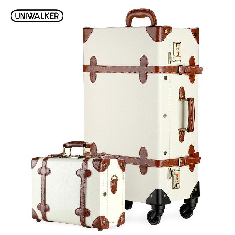 UNIWALKER 12 20 22 24 26 Vintage Valise Voyage Valise, Résistant Aux Rayures Bagages À Roulettes Sacs 20 bagages à main