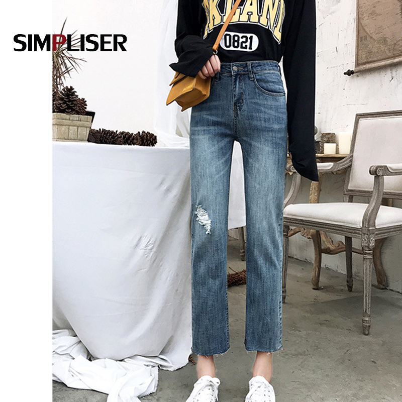 Ripped Jeans Women Summer Ankle Length Straight Trousers Plus Size 32 Female Vintage Jeans High Waist Denim Blue Loose Pants