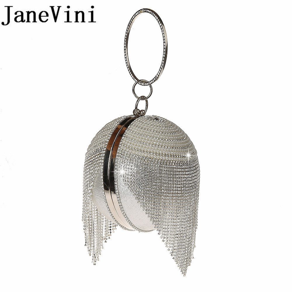 JaneVini Silver Rhinestones Bridal Hand Bags Clutches Ball Crossbody Evening Bags Sparkly Crystal Pearl Chain Party Wristlets