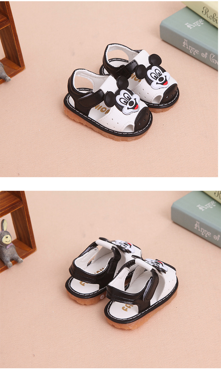 17 New Arrival Summer Baby boys Sandals mickey Toddler Kids soft sole Shoe baby singing shoes Baby girls Shoes Soft Leather 13