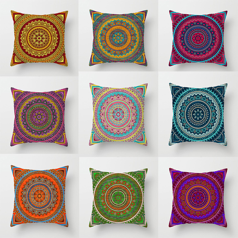 Fabric For Pillow Covers.Us 5 99 Indian Religious Belief Mandala Pattern Printed Cushion Covers Home Sofa Pillowcase Cotton Linen Fabric Pillow Covers 45 45cm In Cushion