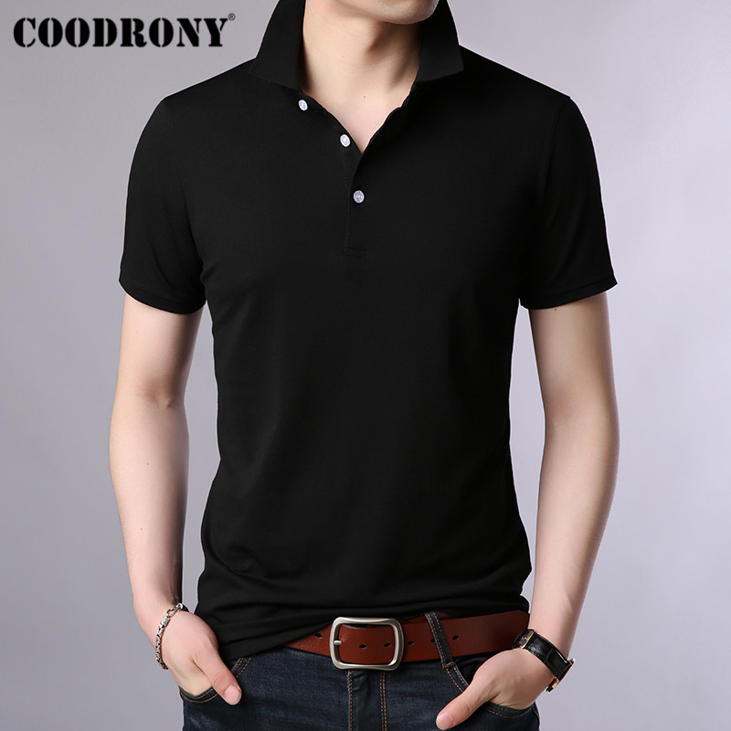 COODRONY Turn-down Collar T Shirt Men Classic All-match Solid Color Short Sleeve T-Shirt Men Spring Summer Men's T-Shirts S95034