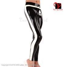 Black and White Trims Sexy Latex Bottoms Leggings Trousers Rubber Pants Long Jeans Plus Size XXXL